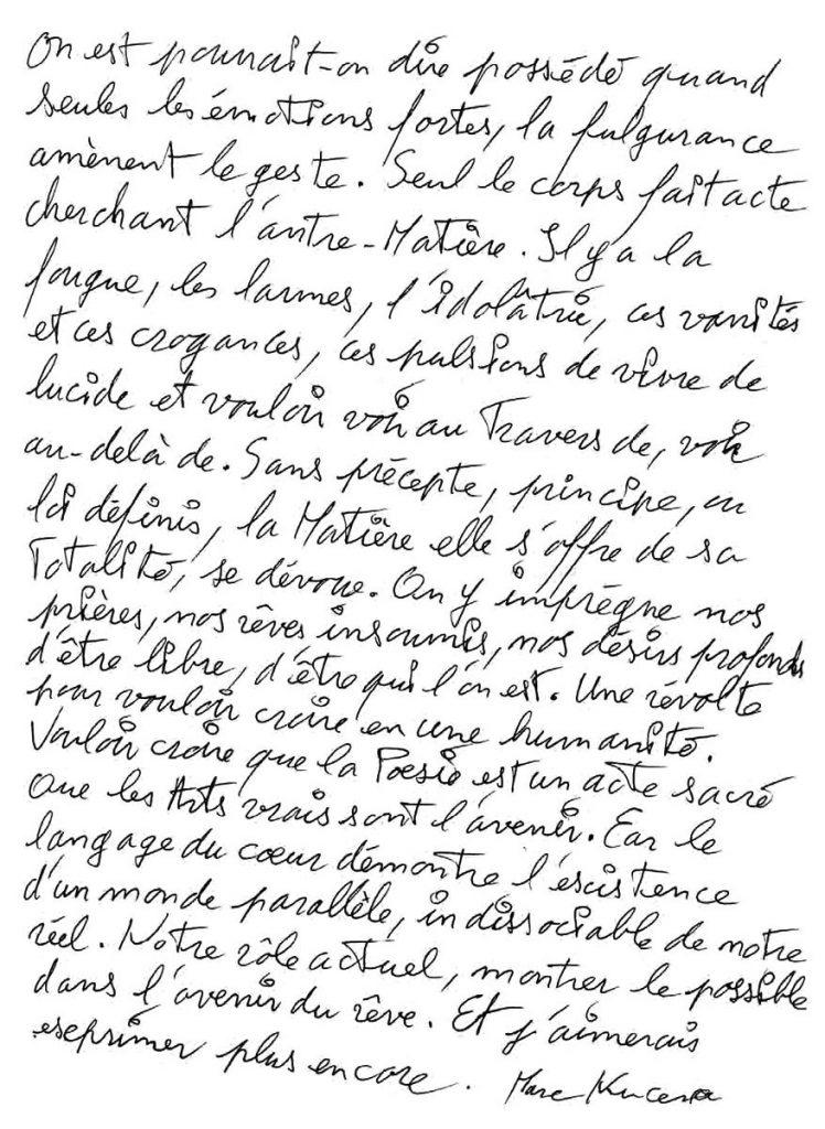 Marc Nucera - Texte manuscrit